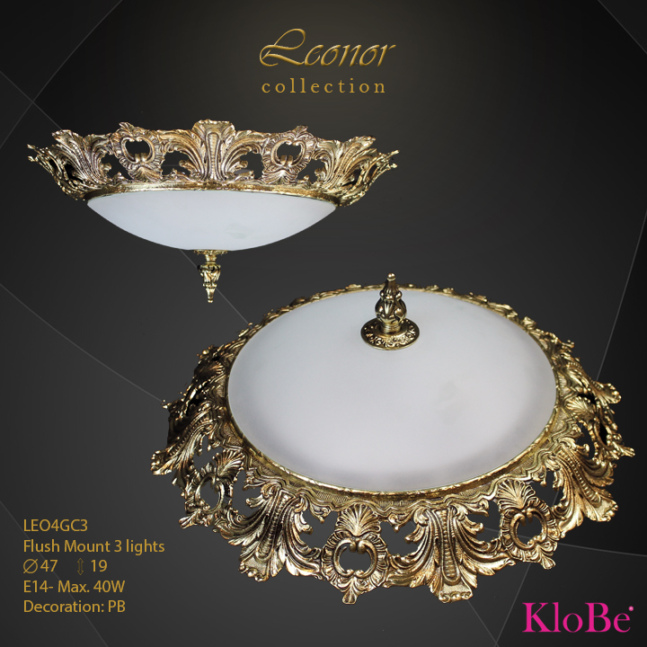 LEO4GC3 - Flush Mount 3 L Leonor collection KloBe Classic