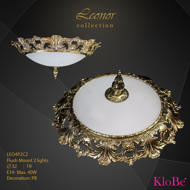 LEO4P2C2 - Flush Mount 2 L Leonor collection KloBe Classic