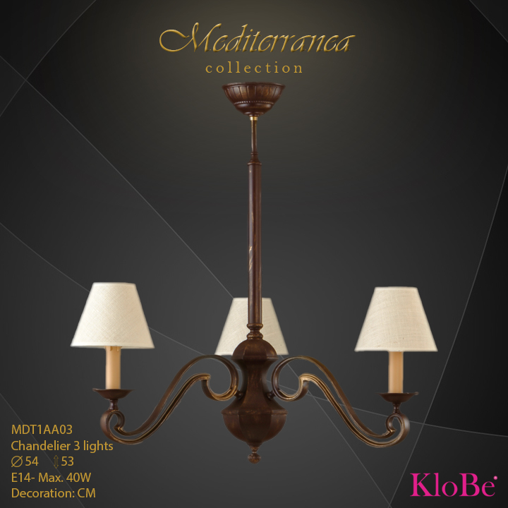 MDT1AA03 (CM) - CHANDELIER  3L  Mediterranea collection KloBe Classic