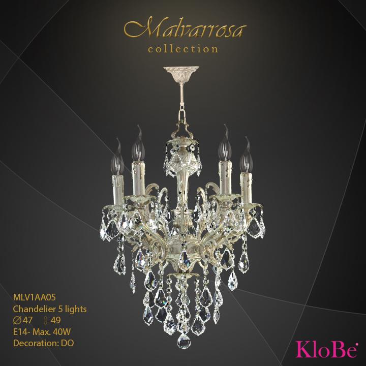 MLV1AA05 -Chandelier 5 L Malvarrosa collection KloBe Classic