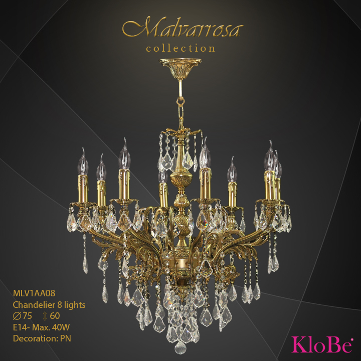 MLV1AA08 -Chandelier 5 L Malvarrosa collection KloBe Classic