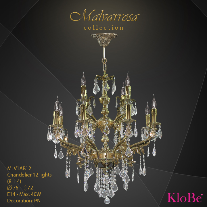 MLV1AB12 - CHANDELIER 12B Malvarrosa collection KloBe Classic