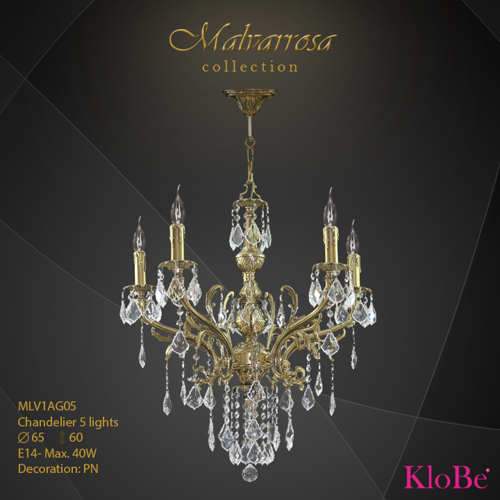 MLV1AG05 -Chandelier 5 L Malvarrosa collection KloBe Classic