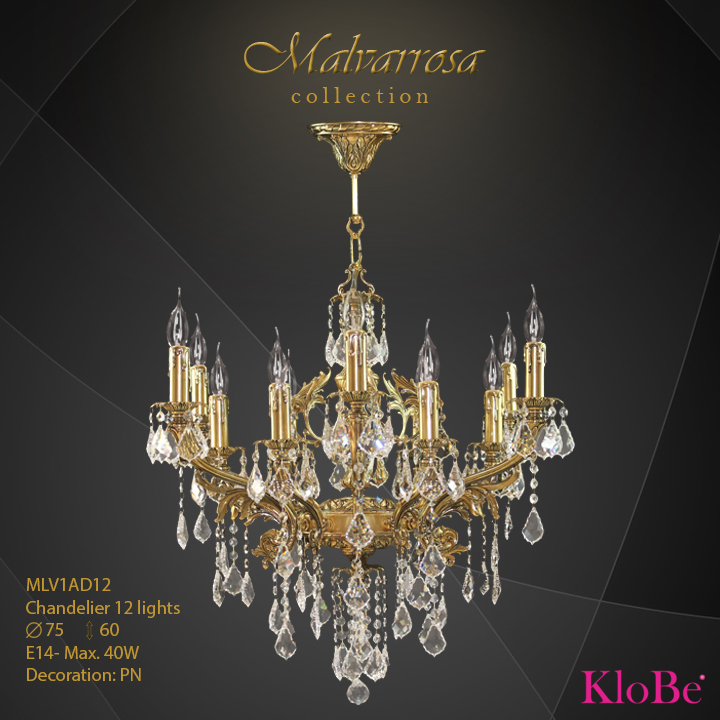 MLV1DA12 -CHANDELIER 12L Malvarrosa collection KloBe Classic