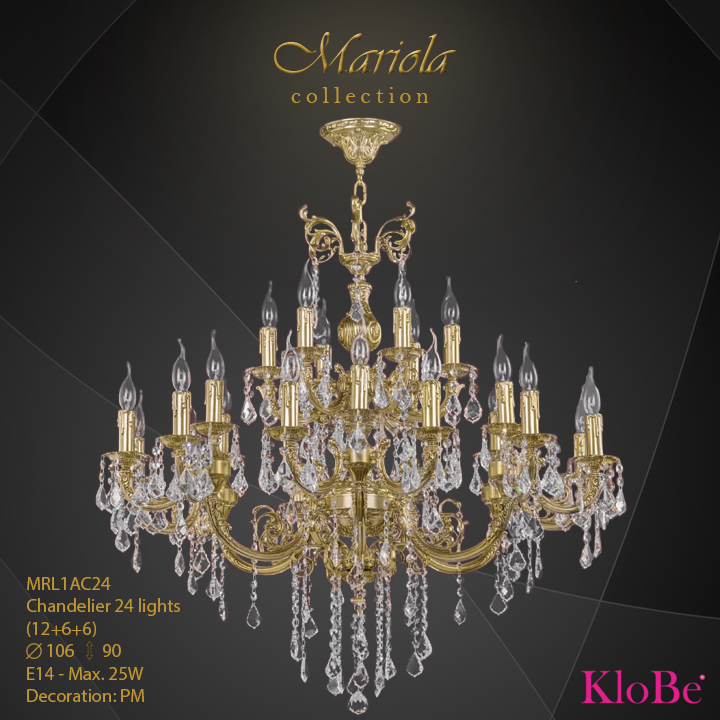 MRL1AC24 -Chandelier 24 L Mariola collection KloBe Classic