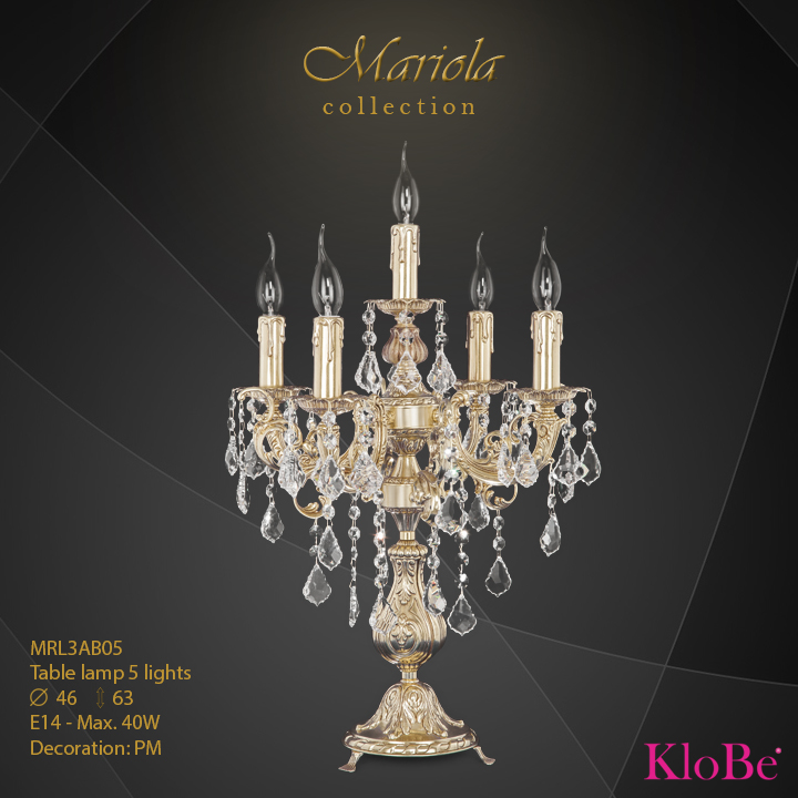MRL3AB05 -Table Lamp 5 L Mariola collection KloBe Classic