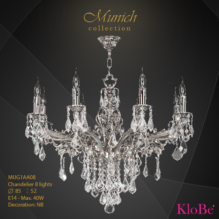 MUG1AA08 - Chandelier 8 L Munich collection KloBe Classic