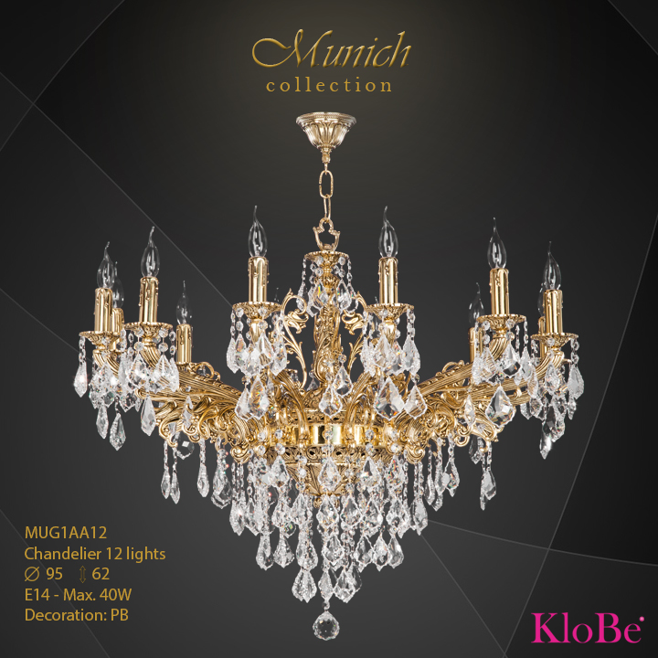 MUG1AA12 - Chandelier 12 L Munich collection KloBe Classic