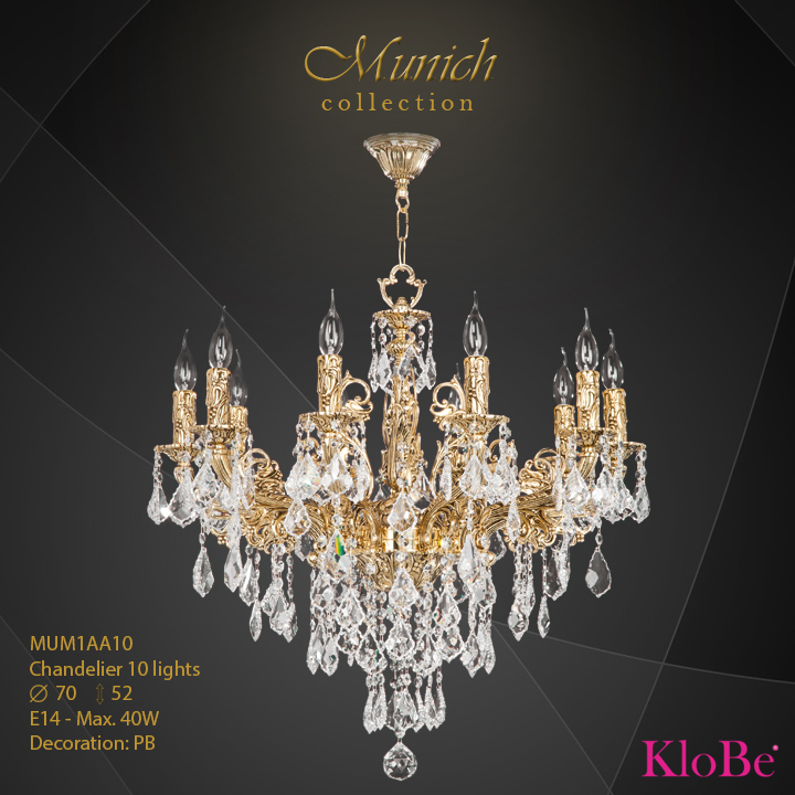 MUM1AA10 - Chandelier 10 L  Munich collection KloBe Classic