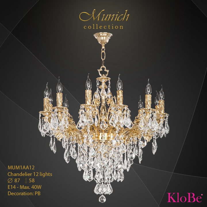 MUM1AA12 - Chandelier 12 L  Munich collection KloBe Classic