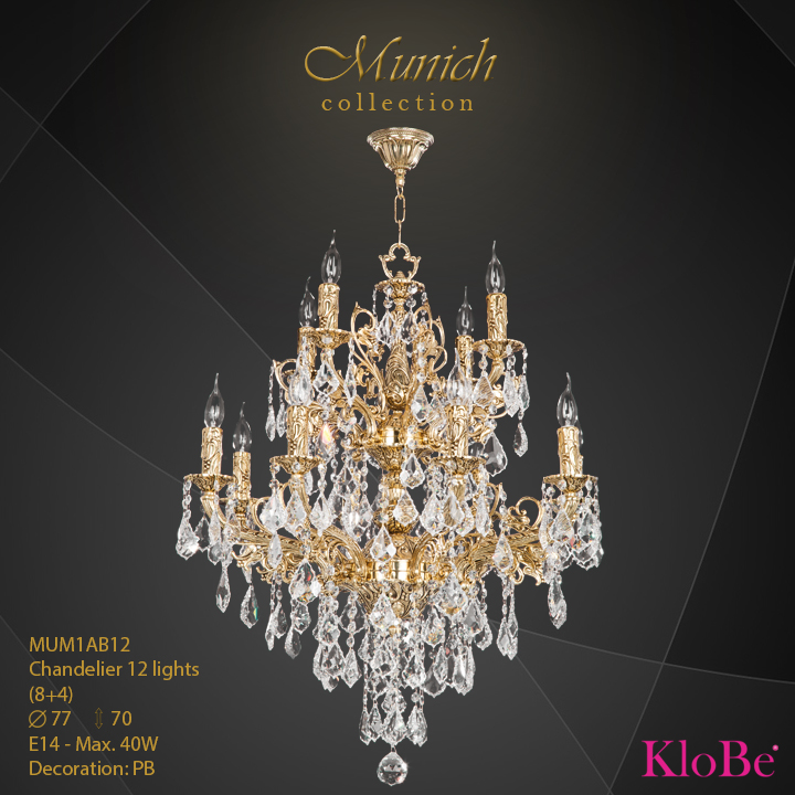 MUM1AB12 - Chandelier 12 L (8+4) Munich collection KloBe Classic