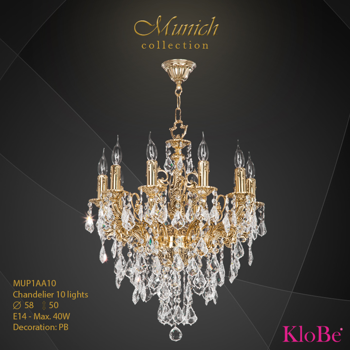 MUP1AA10 - Chandelier 10 L  Munich collection KloBe Classic