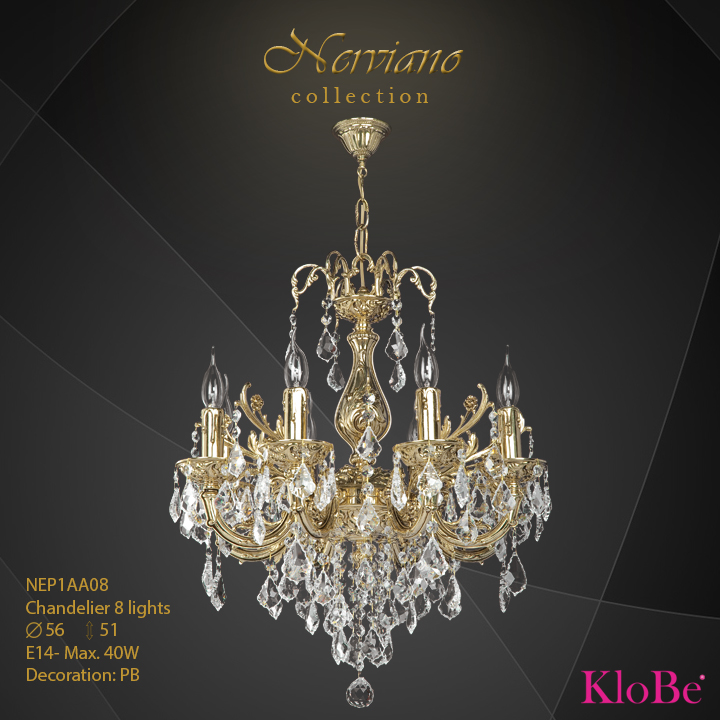 NEP1AA08 - Chandelier 8 L Nerviano collection KloBe Classic