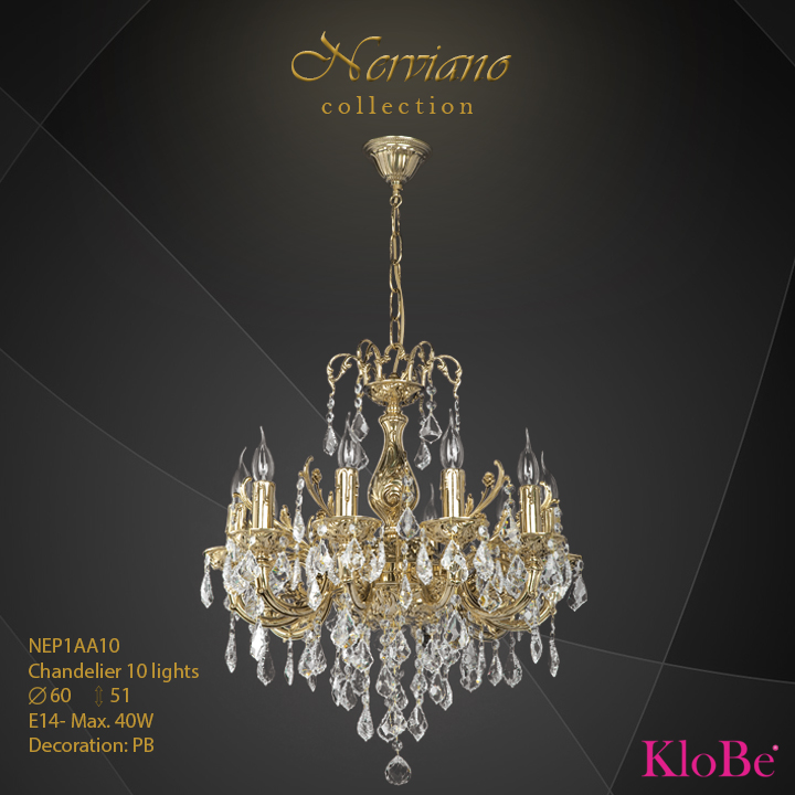 NEP1AA10 - Chandelier 10 L Nerviano collection KloBe Classic