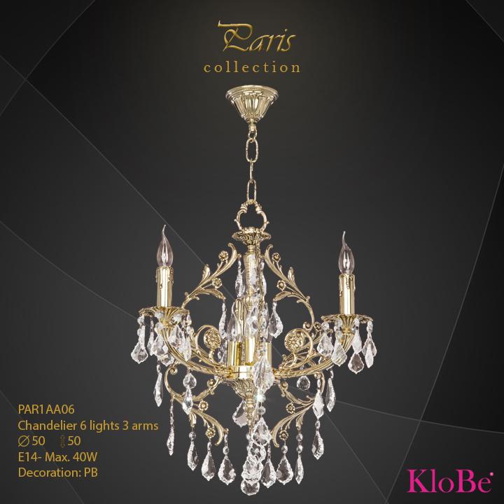 PAR1AA06 - Chandelier 6 L Paris collection KloBe Classic