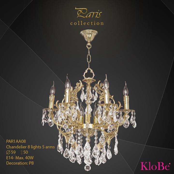 PAR1AA08 - Chandelier 8 L Paris collection KloBe Classic