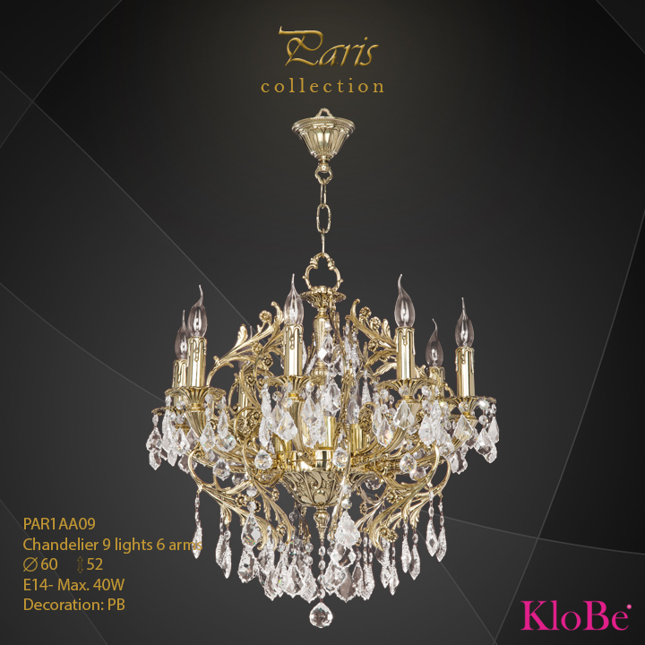 PAR1AA09 - Chandelier 9 L Paris collection KloBe Classic