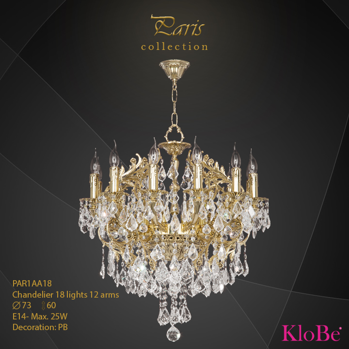 PAR1AA18 - Chandelier 18 L Paris collection KloBe Classic