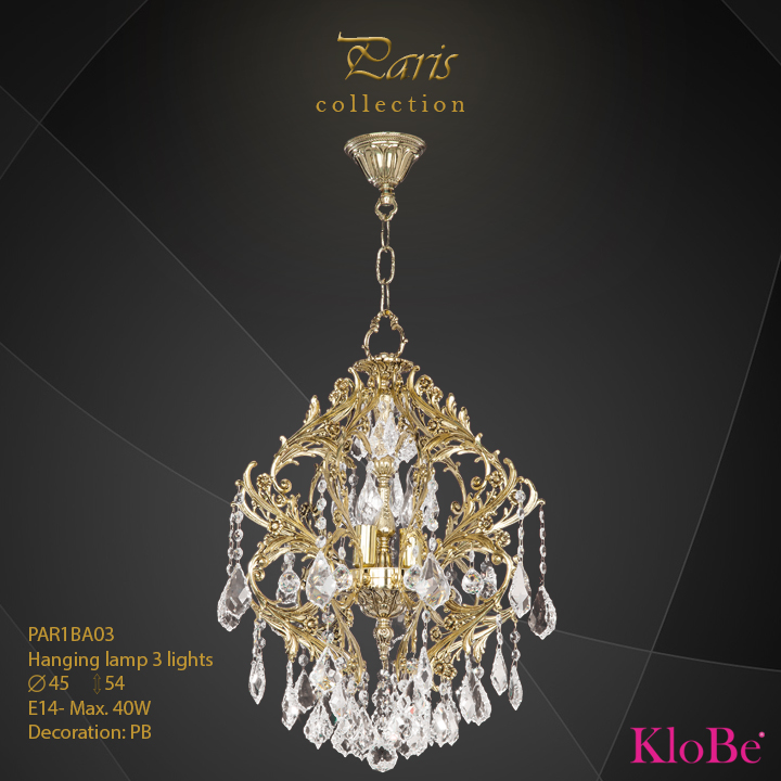 PAR1BA03 - Hanging lamp 3 L Paris collection KloBe Classic