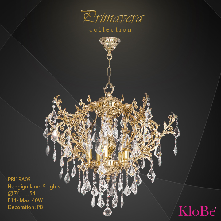 PRI1BA05 - Hanging lamp 5 L Primavera collection KloBe Classic