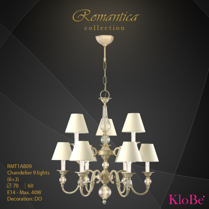 RMT1AB09 (DO) - CHANDELIER  9L  Romantica collection KloBe Classic