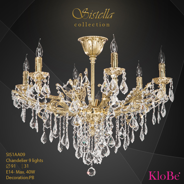SIS1AA09  - CHANDELIER  9L  Sistella collection KloBe Classic