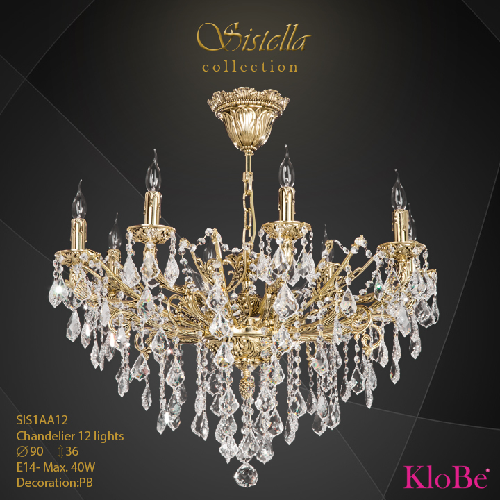 SIS1AA12  - CHANDELIER  12L  Sistella collection KloBe Classic