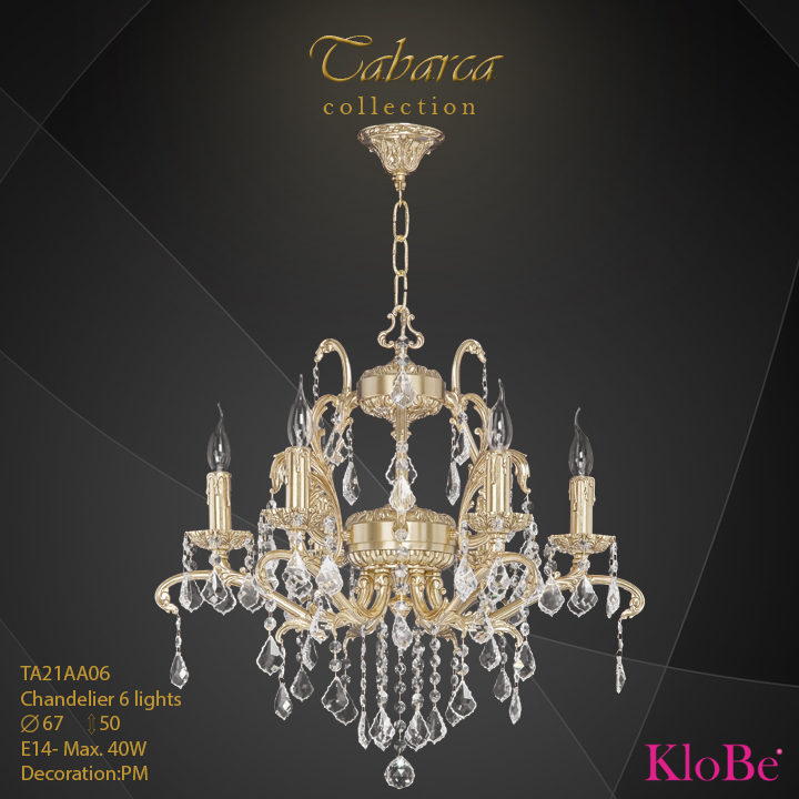 TA21AA06  - CHANDELIER  6L  Tabarca collection KloBe Classic