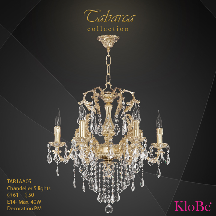 TAB1AA05  - CHANDELIER  5L  Tabarca collection KloBe Classic