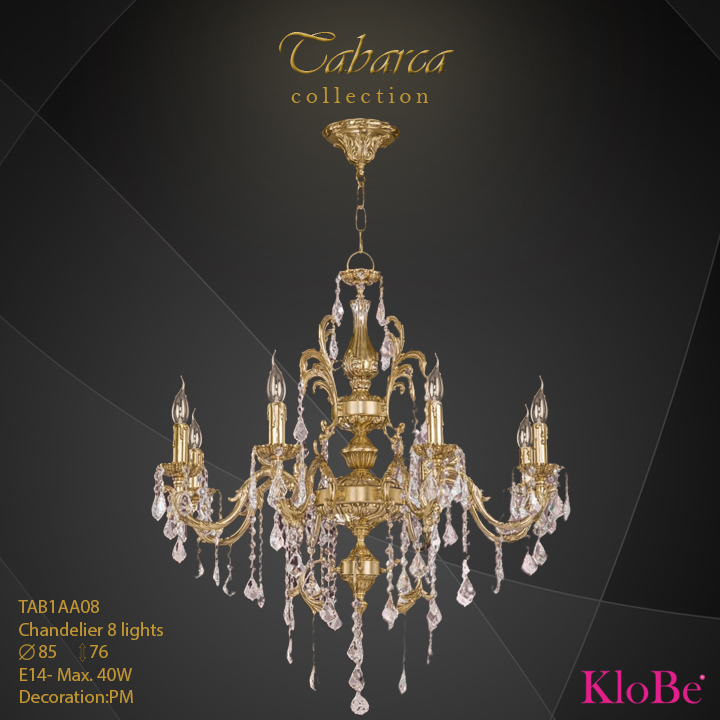 TAB1AA08  - CHANDELIER  8L  Tabarca collection KloBe Classic