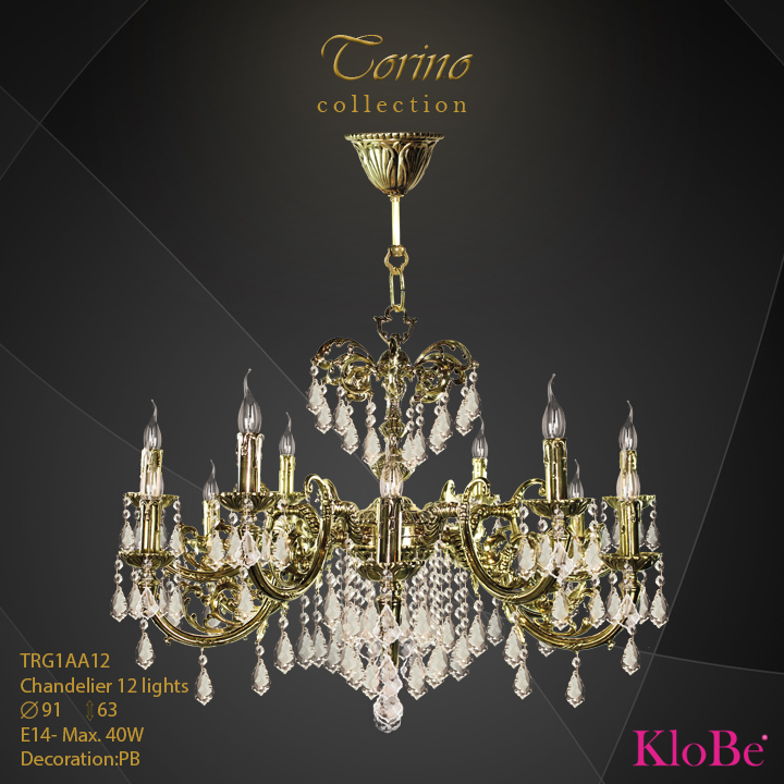 TRG1AA12  - CHANDELIER  12L  Torino collection KloBe Classic