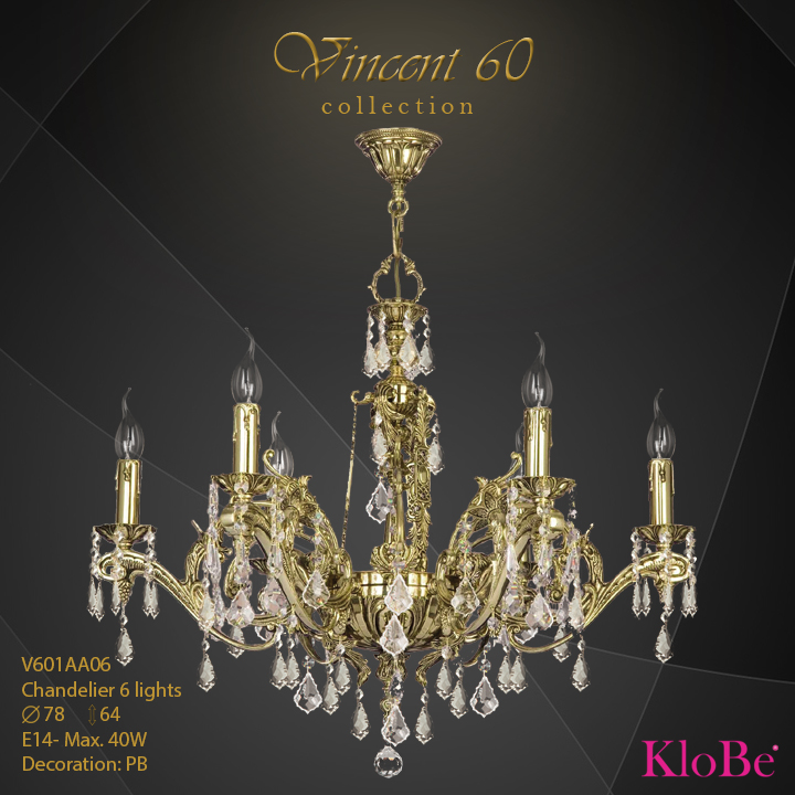 V601AA06 - CHANDELIER  6L  V60 collection KloBe Classic