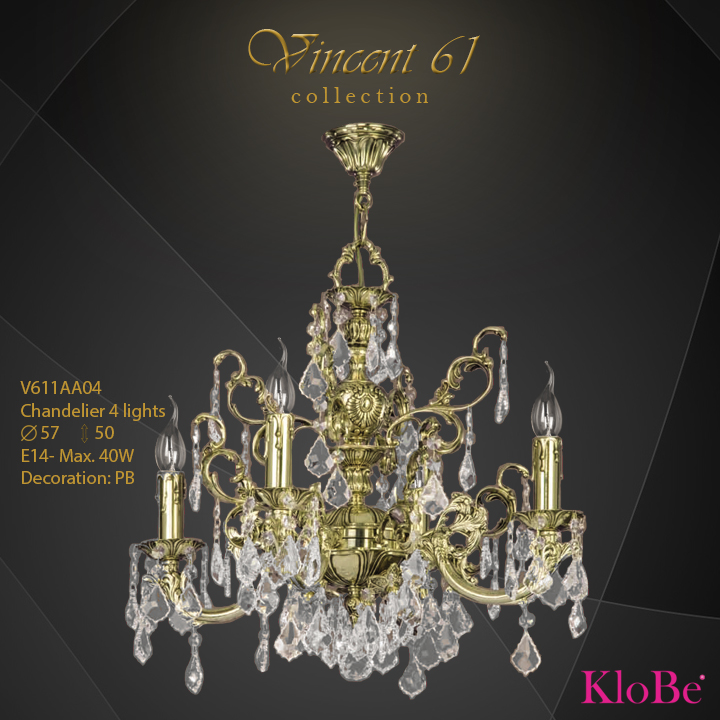 V611AA04 -CHANDELIER 4L V61  collection KloBe Classic