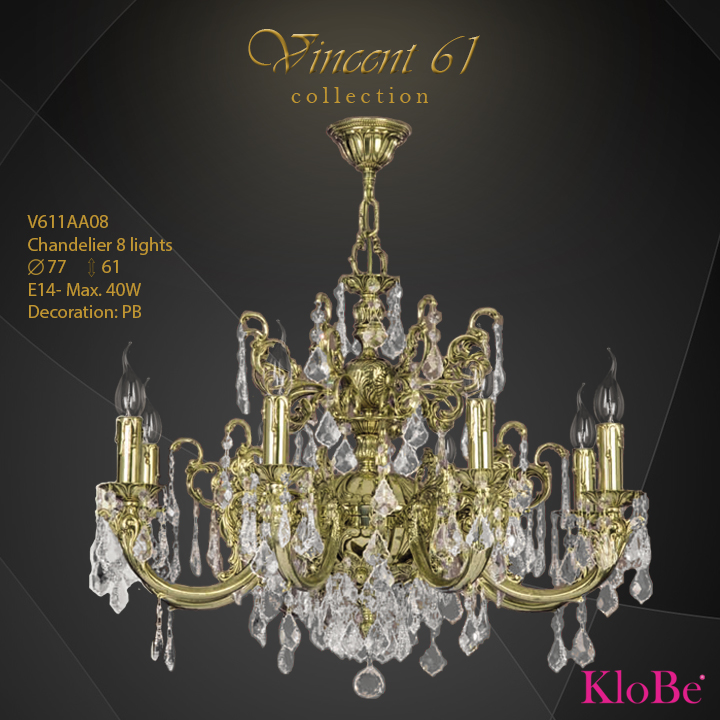 V611AA08 -CHANDELIER 8L V61 collection KloBe Classic