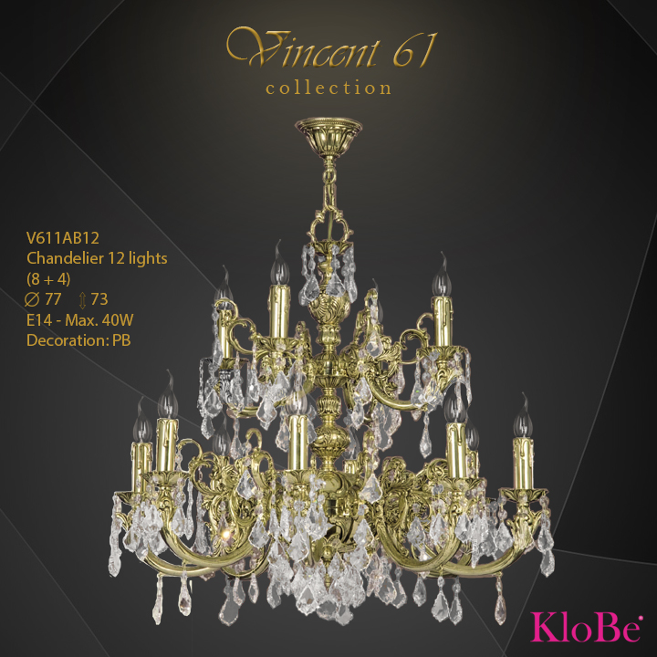 V611AB12 -CHANDELIER 12B V61 collection KloBe Classic