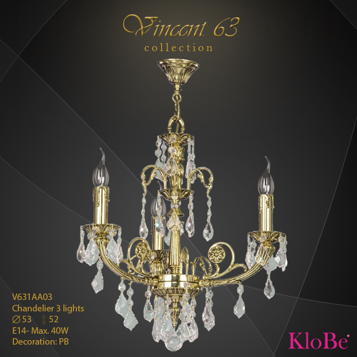 V631AA03 -CHANDELIER 3L   v.63 collection KloBe Classic