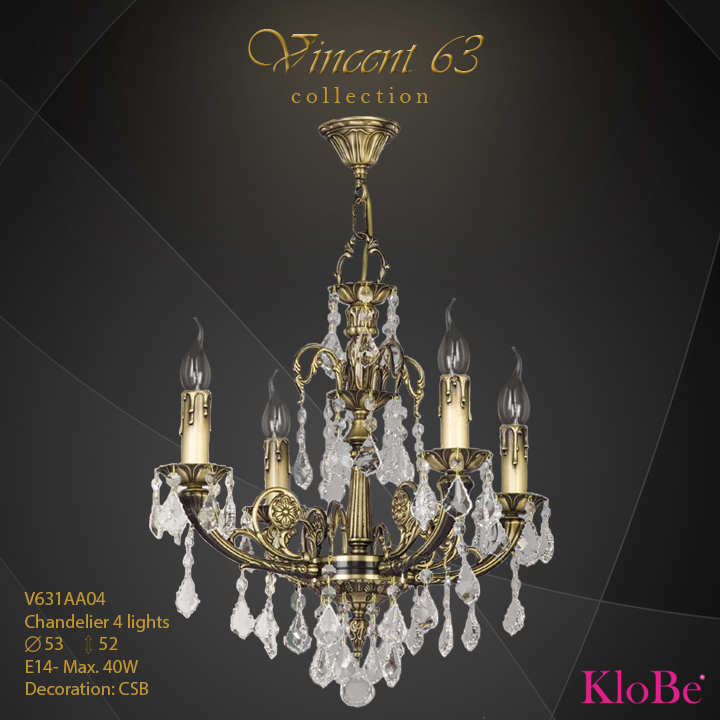 V631AA04 -CHANDELIER 4L   v.63 collection KloBe Classic
