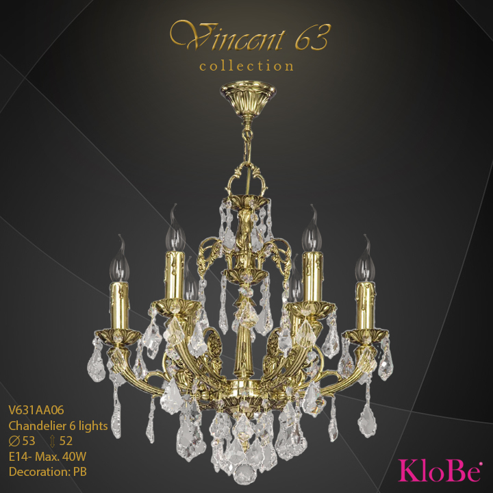V631AA06 -CHANDELIER 6L   v.63 collection KloBe Classic