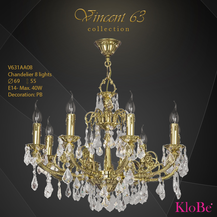 V631AA08 -CHANDELIER 8L   v.63 collection KloBe Classic