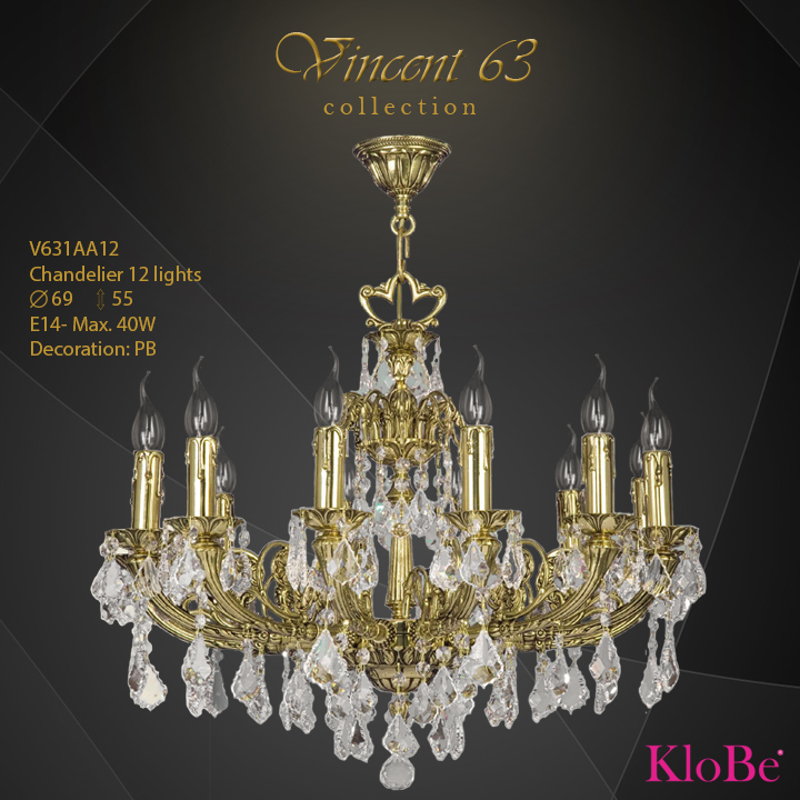 V631AA12 -CHANDELIER 12L   v.63 collection KloBe Classic