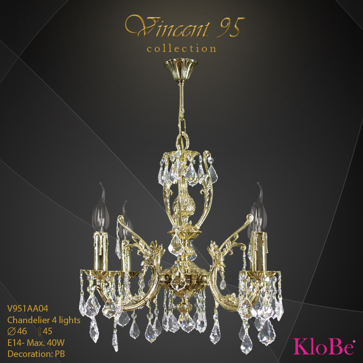 V951AA04 - CHANDELIER 4L V95 collection KloBe Classic